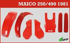 Maico 250 490cc 1981 UFO Plastic Kit OEM Red With Number Plate & Fork Gaitors