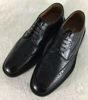 Mikekonos Men's Black Leather Wing Tip Brogue Oxford Shoes Sz 10  Made in Italy