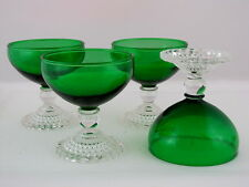 """4 ANCHOR HOCKING FOREST GREEN EARLY AMERICAN SHERBETS, 6 oz, 4"""" tall"""