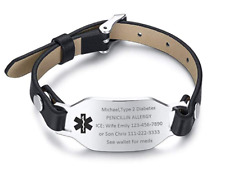 Genuine Leather Medical Alert ID Tag Bracelet Men Adjustable Custom Engraving
