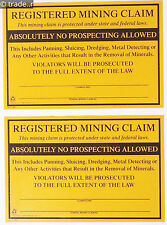 Registered Mining Claim Signs 2 (two) PACK Aluminum No Prospecting Allowed Sign