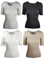 LADIES EX FAMOUS STORES THERMAL SHORT SLEEVE POINTELLE TOPS BRUSHED INSIDE
