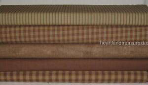 Dunroven House 5  Primitive Homespun Brown / Wheat   Fabric Fat Quarters