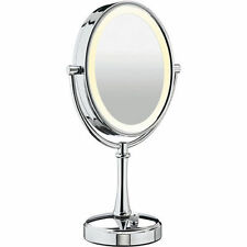 "Conair BE118 Double-Sided 10x-1x Polished Nickel Lighted Makeup Mirror 17""Height"