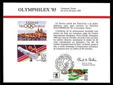 SOUVENIR CARD FIRST DAY OLYMPHILEX '85 Lausanne, Switzerland FDOI FDC 1985