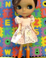 Blythe Doll Outfit Flower Print Pink Dress