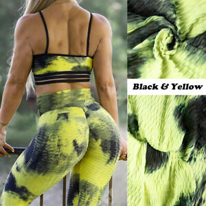 Women Push Up Butt Lift  Anti Cellulite Yoga Pants High Waist Ruched Workout Gym