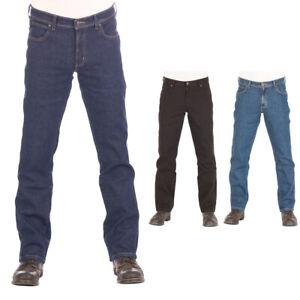 Wrangler Herren Jeans Durable Regular Fit Denim Hose Darkstone Black w30 - w44