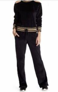 C&C California Women's Velour Pants Velvet Joggers Lounge Black Gold Sz Small
