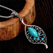 New Women's Tibetan Silver Leaf Turquoise Necklace Pendant Jewellery Gift Bag