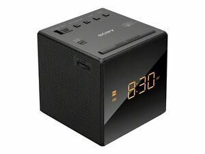 Sony ICF-C1 AM/FM Alarm Clock Radio - Black Cube Dimmer Display Works Great!