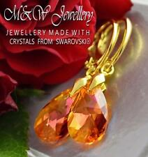 GOLD PLATED 925 SILVER EARRINGS PEAR ASTRAL PINK 16MM CRYSTALS FROM SWAROVSKI®