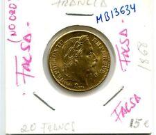 20 FRANCOS  AÑO 1868  FRANCIA (  FALSA , no es oro )  ( MB13634 )
