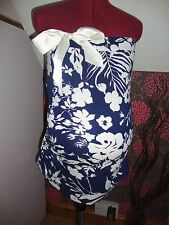 BNWT MATERNITY Navy Floral Bow Detail Sleeveless Top/Bube Tube Size Large
