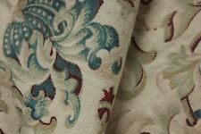 Fabric Antique French large cretonne faded floral printed cotton panel c1880
