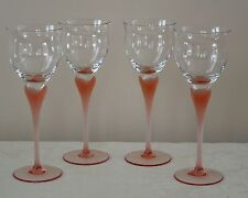 """4 MIKASA WATER GOBLETS SEA MIST CORAL (MORE AVAIL)TALL GLASS FROSTED STEM 9 1/4"""""""