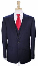 * HUGO BOSS * Selection Black w/ Blue Stripes Peak Lapel 3-Pc 150s Wool Suit 42R