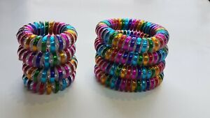 Multicolour Rainbow Spiral Hair Band Hairbands Bobbles Stretchy Ponytail 4pk