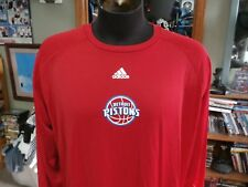 Detroit Pistons red Adidas nbafusion long sleeve shirt size tag missing #28848
