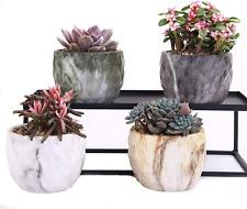 Set of 4 Modern Marbling Ceramic Flower Pot Succulent Cactus Bonsai Planter