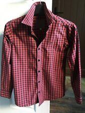 """Boys Red & Black Check Long Sleeve JOHN ROCHA Cotton Shirt Age 11yrs H 57.5"""""""
