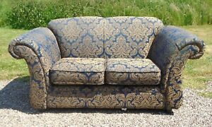 Blue & Gold Kirkdale Two Seater Sofa / Settee / Seat