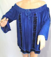 Nao Women Plus Size 1x 2x 3x Denim Blue Indigo Tunic Top Blouse Shirt Gypsy