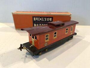 ORIGINAL 1933 LIONEL PREWAR TRAINS -CABOOSE NO. 1722- O-GAUGE W/ORIGINAL BOX VG