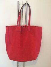 Borsa Shopper Morbida Pelle 100%, Colore Rosso, Con Pochette. Made In Italy.