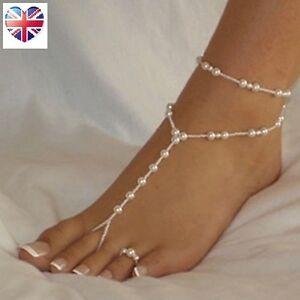 Elegant Pearl Barefoot Sandal Anklet Beach Bracelet Jewellery | FREE Toe Ring