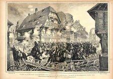Charge des Cuirassiers à Hilsprich/Morsbronn Moselle Reichshoffen GRAVURE 1875