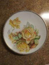 Vintage Semi-Porcelain Yellow Rose Plate Signed E. Muller