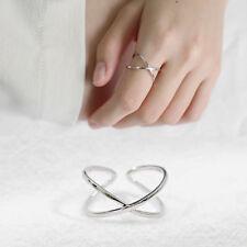 """Damen Ring """"X"""" echt Sterlingsilber 925 rhodiniert größenverstellbar 52-56 offen"""