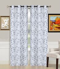 1PC FLORAL LIGHT BLOCKING WINDOW CURTAIN GROMMET TOP LINED PANEL LEAF SILVER