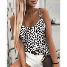 Summer Womens Round Neck Sleeveless T Shirt Casual Leopard Print Blouse Tank Top