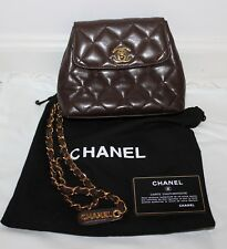 VINTAGE CHANEL BROWN QUILTED LEATHER ESTATE MINI-BAG W/DUST BAG & CARD LOOK NR!