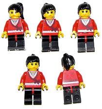 LEGO LOT OF 5 FEMALE GIRLS MINIFIGURES FRIENDS RED XMAS SHIRT BLACK HAIR