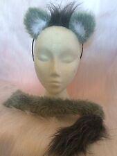 Light Grey Realistic Lion Wolf Ears & Tail Fake Fur Fancy Dress Unisex One Size