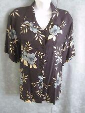 Coldwater Creek Aloha Shirt Size Large Tropical Print 100% Silk Top