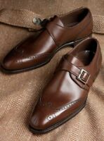 Handmade Men Wing tip brogue leather shoes, Men formal monk shoes, Men shoes