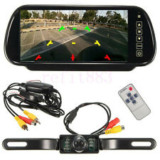 "7"" LCD Mirror Monitor+Wireless Night Vision Car Reverse Rear View Backup Camera"