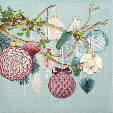 4x Servilletas Papel-Verde espíritu de la Navidad-Para Fiesta, Decoupage Craft