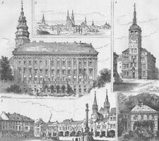 CZECH. Imperial mtg, Krom??íž, antique print, 1885