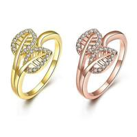 18K Rose Gold Plated Fashion  Ring AAA Zirconia Women Leaves B243
