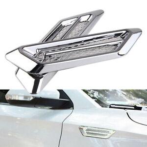 Universal Car Side Air Flow Vent Fender Sticker Grille Cover Decoration Chrome