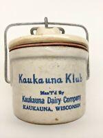 Vintage Kaukauna Klub Wisconsin Stoneware Cheese Crock with Lid & Bale