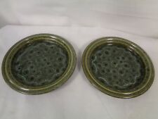 FOSTERS POTTERY CORNWALL GREEN HONEYCOMB DESIGN - 2 SALAD/STARTER PLATES (CHA)