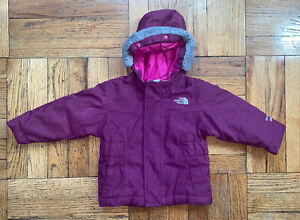 The North Face Kids HyVent 550 Maroon Hooded Puffer Jacket Girl Size 12-18 Month