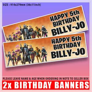 "Personalised Fortnite Mandalorian Birthday Banner x2 Any Age Name - 36 ""x 11"""