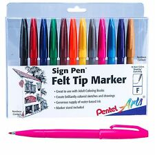 Pentel Sign Pen Felt Tip Markers S520-12, 12 Color Set, Fine Point